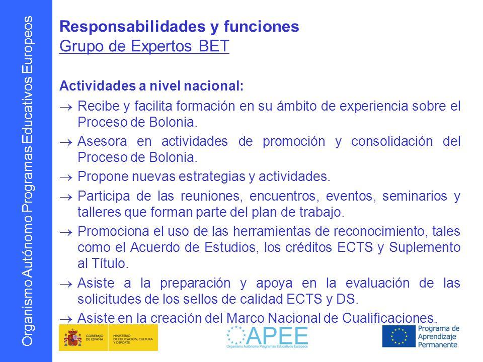 Organismo Autónomo Programas Educativos Europeos Responsabilidades y funciones Grupo de Expertos BET Actividades a nivel nacional: Recibe y facilita f