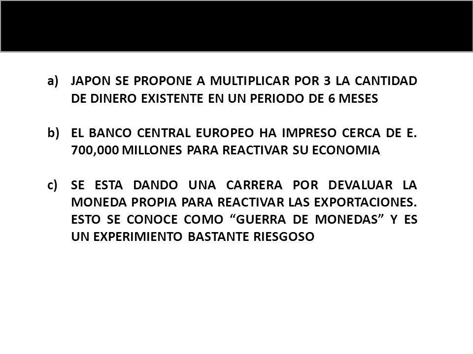 a)JAPON SE PROPONE A MULTIPLICAR POR 3 LA CANTIDAD DE DINERO EXISTENTE EN UN PERIODO DE 6 MESES b)EL BANCO CENTRAL EUROPEO HA IMPRESO CERCA DE E.