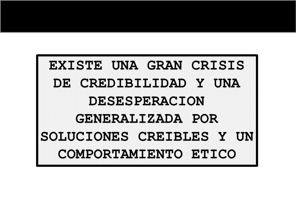 EXISTE UNA GRAN CRISIS DE CREDIBILIDAD Y UNA DESESPERACION GENERALIZADA POR SOLUCIONES CREIBLES Y UN COMPORTAMIENTO ETICO