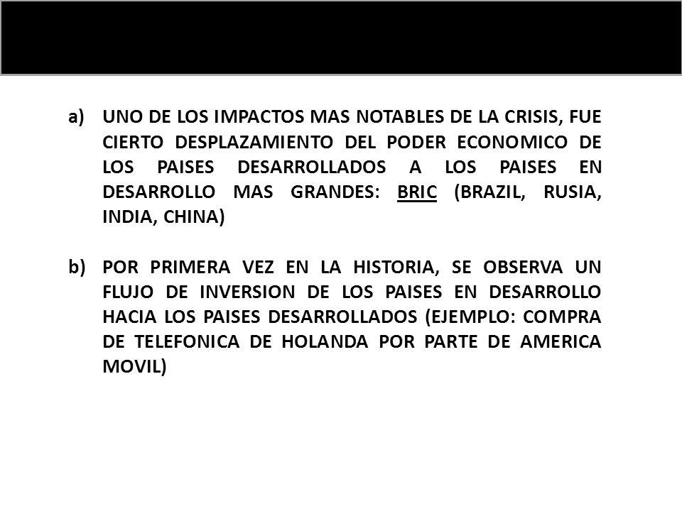 a)UNO DE LOS IMPACTOS MAS NOTABLES DE LA CRISIS, FUE CIERTO DESPLAZAMIENTO DEL PODER ECONOMICO DE LOS PAISES DESARROLLADOS A LOS PAISES EN DESARROLLO