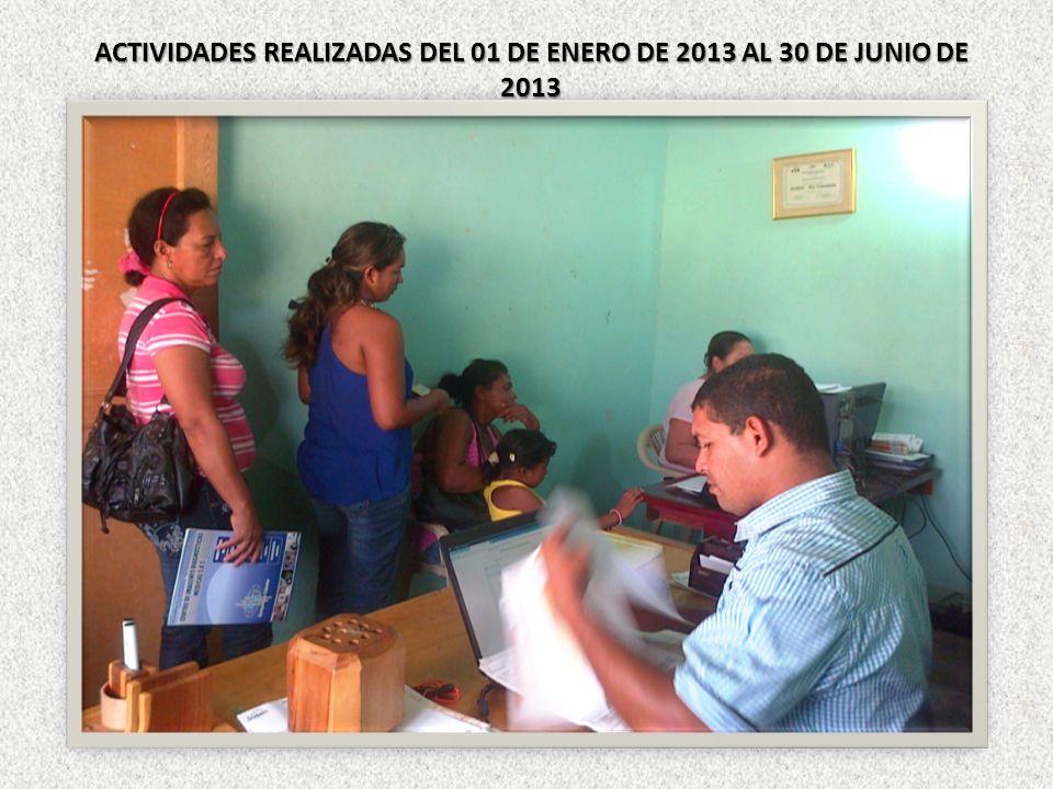 ACTIVIDADES REALIZADAS DEL 01 DE ENERO DE 2013 AL 30 DE JUNIO DE 2013