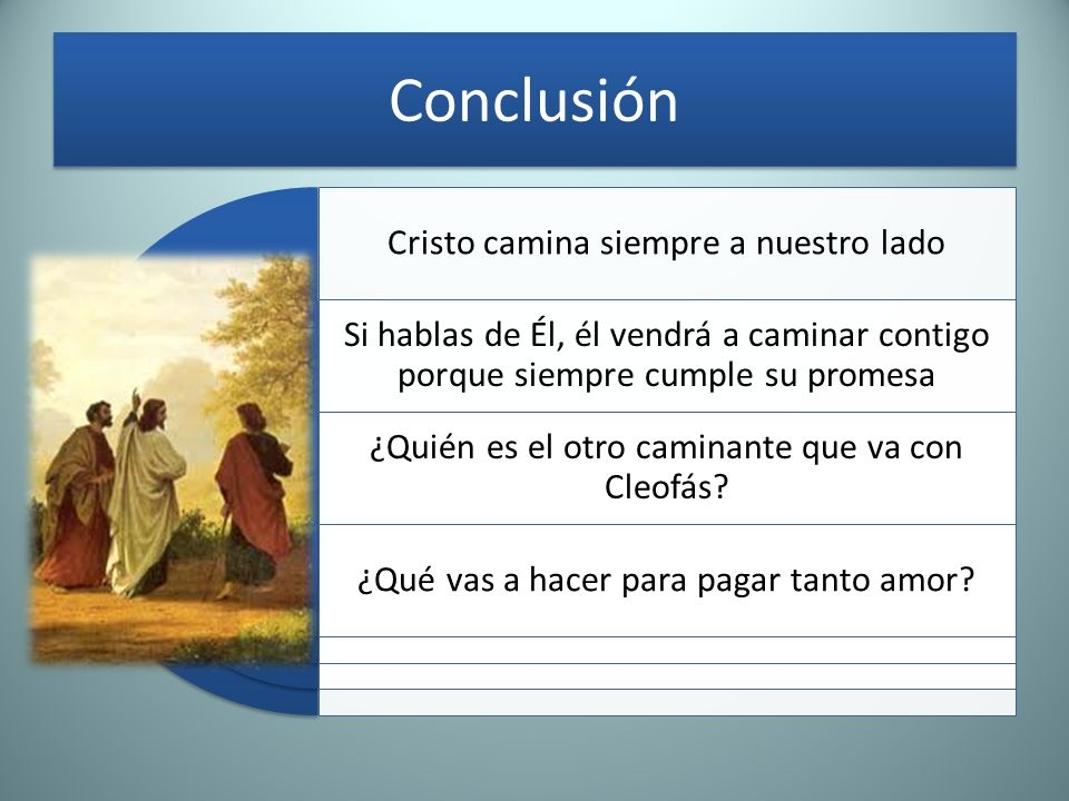 Conclusión Cristo camina siempre a nuestro lado Si hablas de Él, él vendrá a caminar contigo porque siempre cumple su promesa ¿Quién es el otro camina