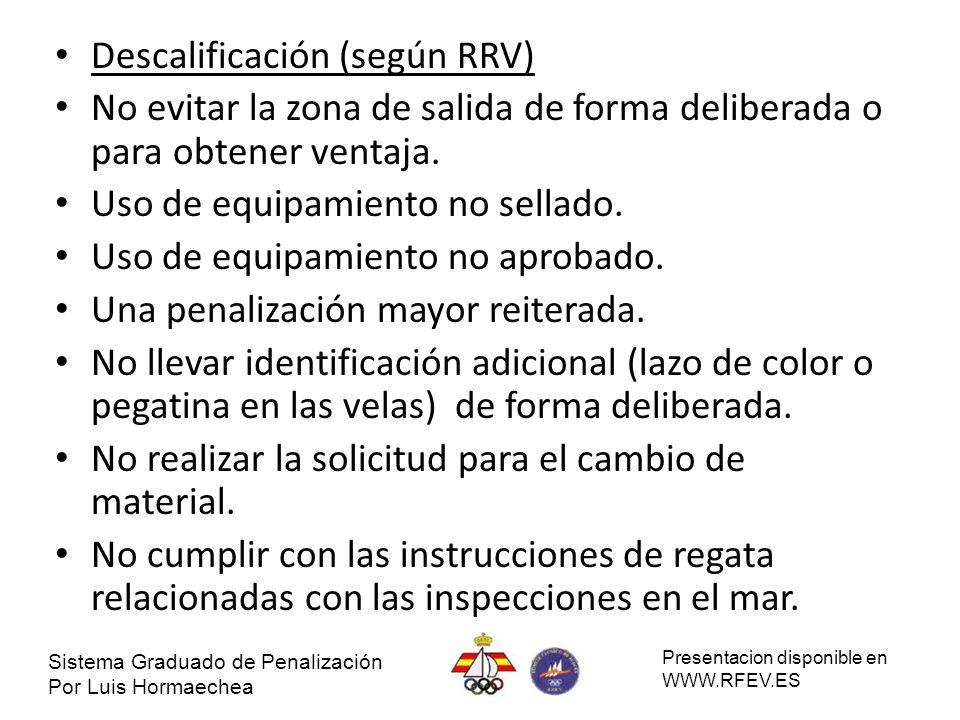 Descalificación (según RRV) No evitar la zona de salida de forma deliberada o para obtener ventaja. Uso de equipamiento no sellado. Uso de equipamient