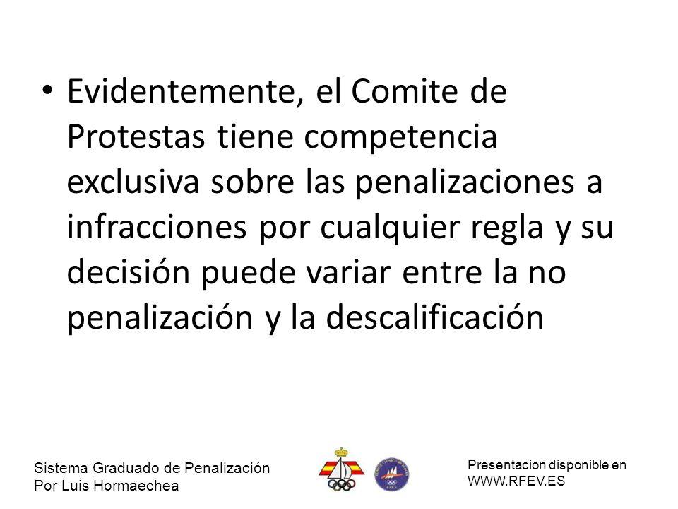Evidentemente, el Comite de Protestas tiene competencia exclusiva sobre las penalizaciones a infracciones por cualquier regla y su decisión puede vari