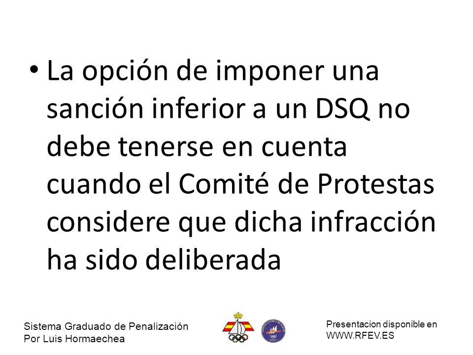 La opción de imponer una sanción inferior a un DSQ no debe tenerse en cuenta cuando el Comité de Protestas considere que dicha infracción ha sido deli