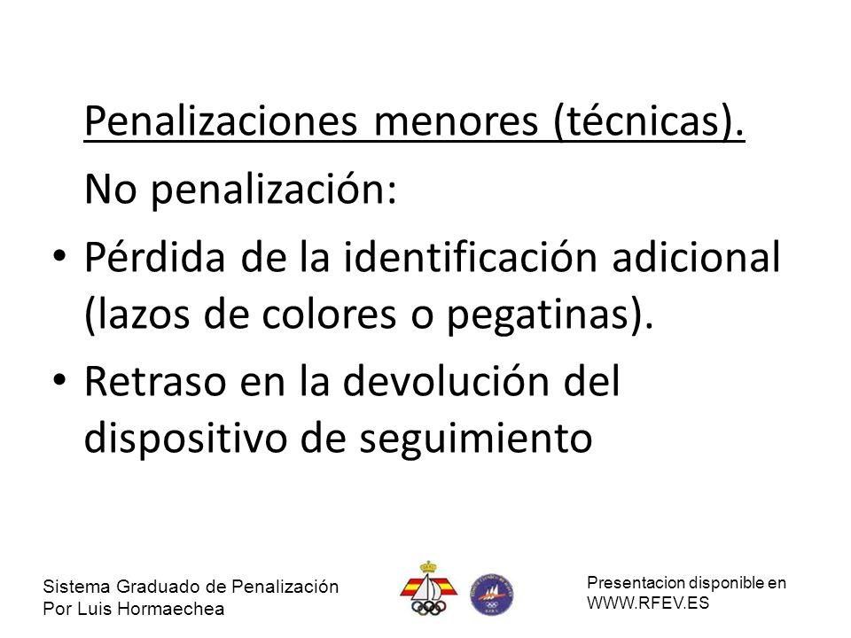 Penalizaciones menores (técnicas). No penalización: Pérdida de la identificación adicional (lazos de colores o pegatinas). Retraso en la devolución de