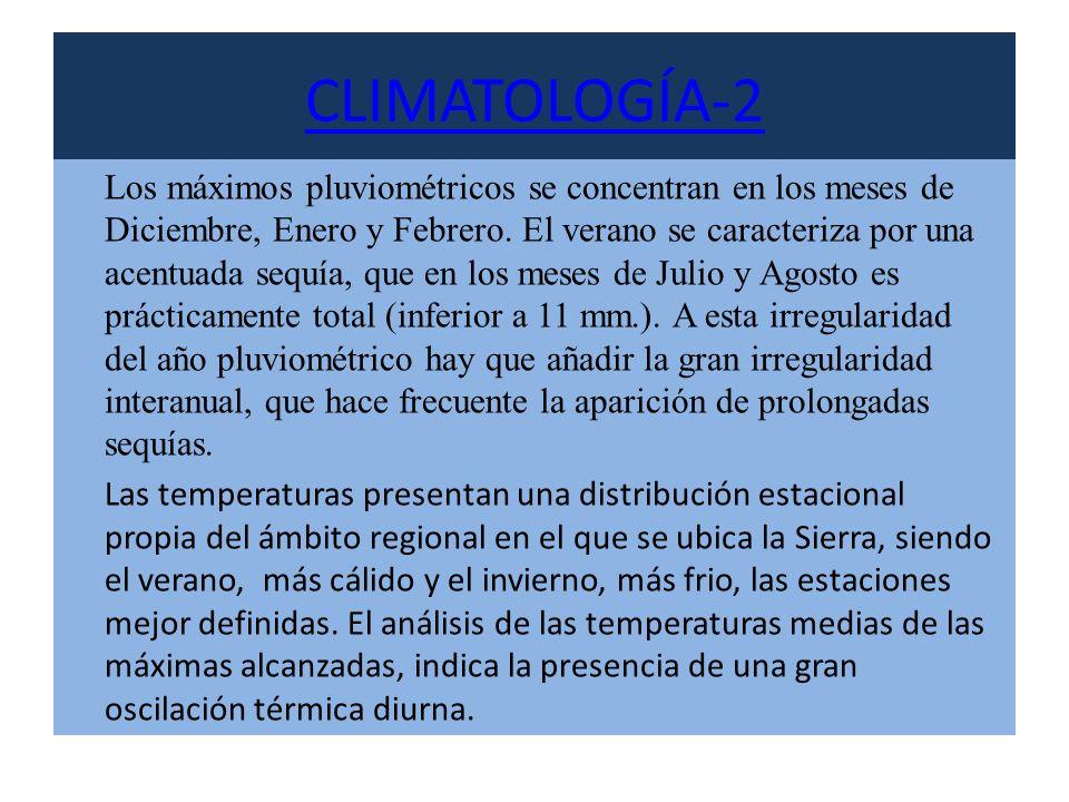 CLIMATOLOGÍA-2 Los máximos pluviométricos se concentran en los meses de Diciembre, Enero y Febrero. El verano se caracteriza por una acentuada sequía,