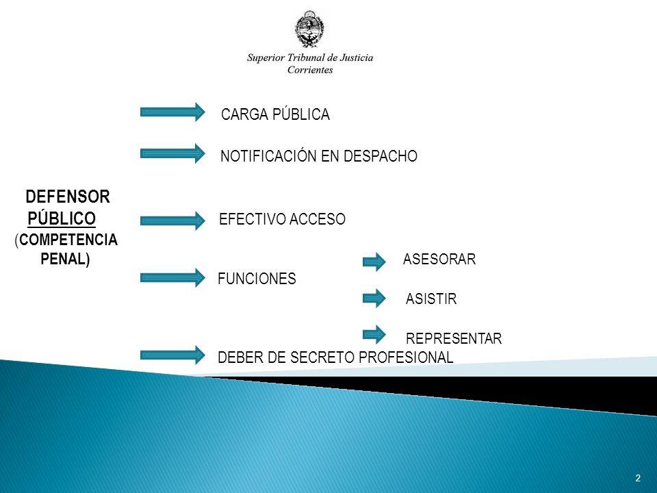 CARGA PÚBLICA NOTIFICACIÓN EN DESPACHO DEFENSOR PÚBLICO EFECTIVO ACCESO ( COMPETENCIA PENAL) ASESORAR FUNCIONES ASISTIR REPRESENTAR DEBER DE SECRETO PROFESIONAL 2