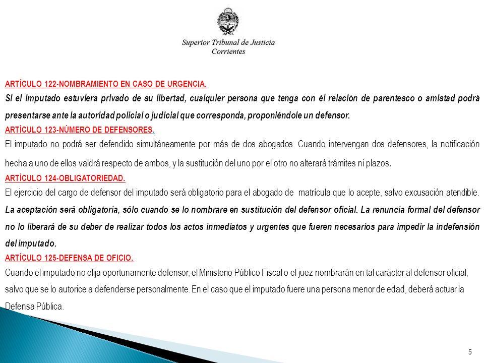 ARTÍCULO 122-NOMBRAMIENTO EN CASO DE URGENCIA.