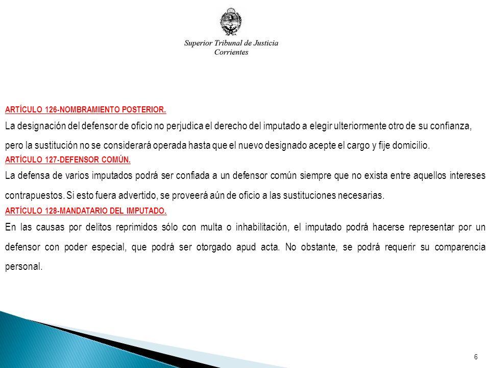 ARTÍCULO 126-NOMBRAMIENTO POSTERIOR.