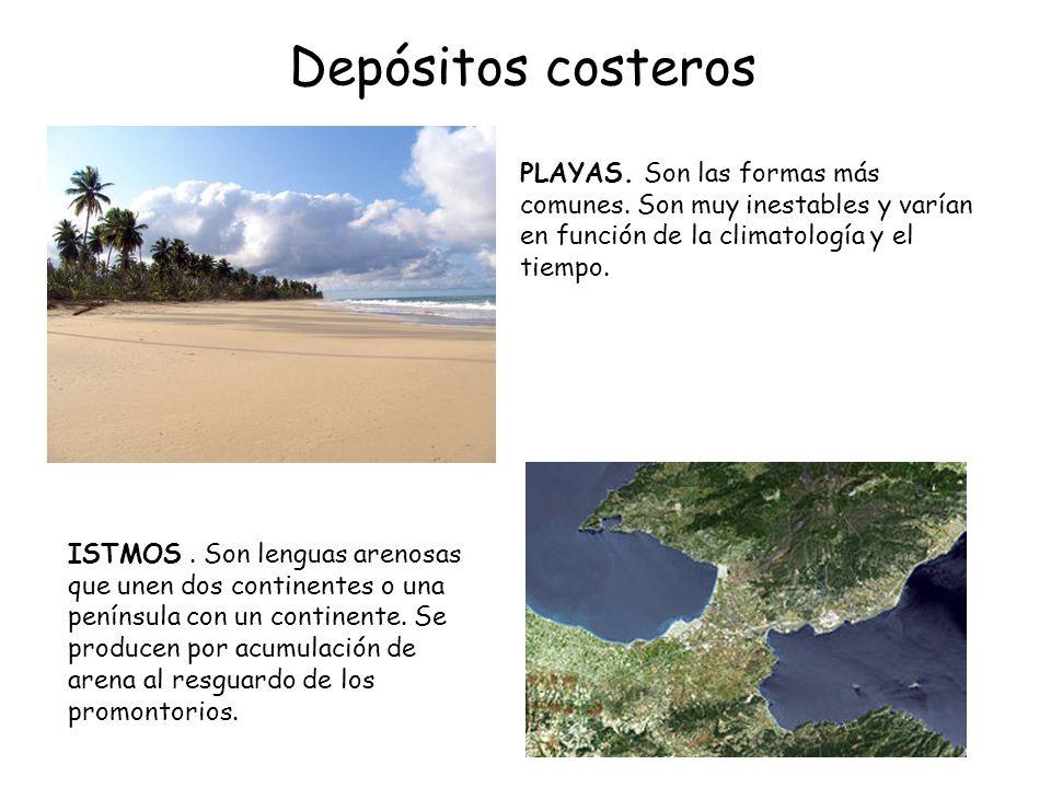 Depósitos costeros ISTMOS. Son lenguas arenosas que unen dos continentes o una península con un continente. Se producen por acumulación de arena al re