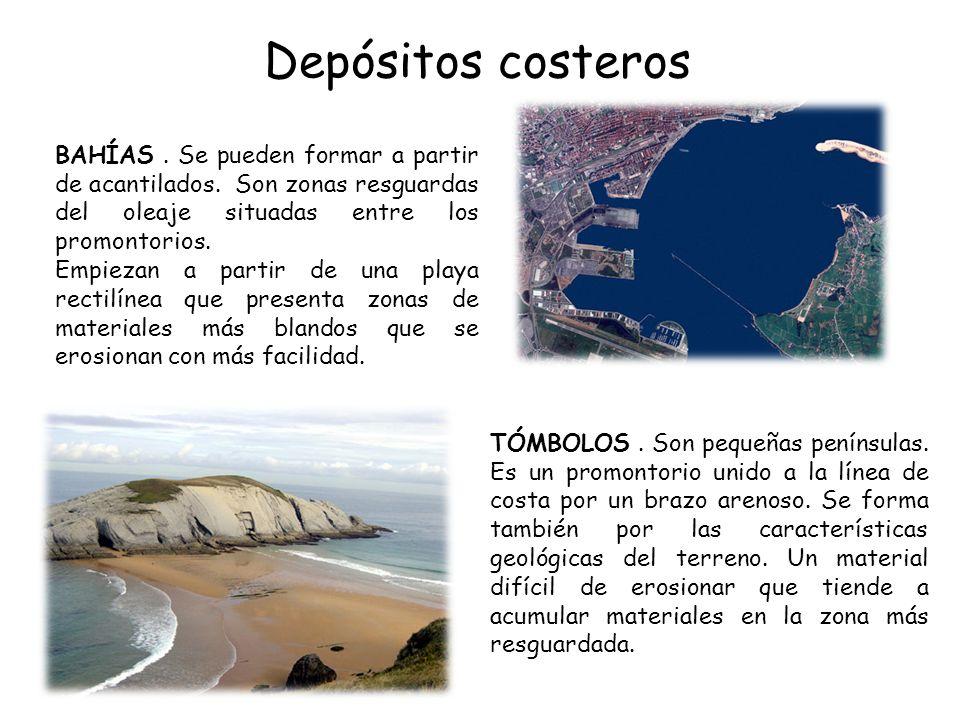 Depósitos costeros TÓMBOLOS. Son pequeñas penínsulas. Es un promontorio unido a la línea de costa por un brazo arenoso. Se forma también por las carac