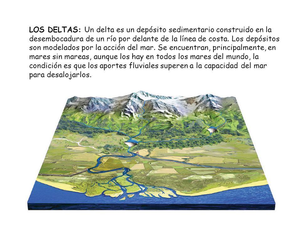 LOS DELTAS: Un delta es un depósito sedimentario construido en la desembocadura de un río por delante de la línea de costa. Los depósitos son modelado