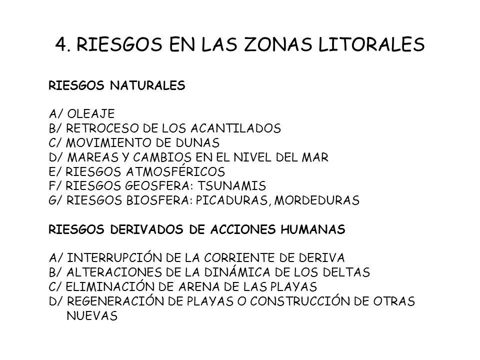 4. RIESGOS EN LAS ZONAS LITORALES RIESGOS NATURALES A/ OLEAJE B/ RETROCESO DE LOS ACANTILADOS C/ MOVIMIENTO DE DUNAS D/ MAREAS Y CAMBIOS EN EL NIVEL D