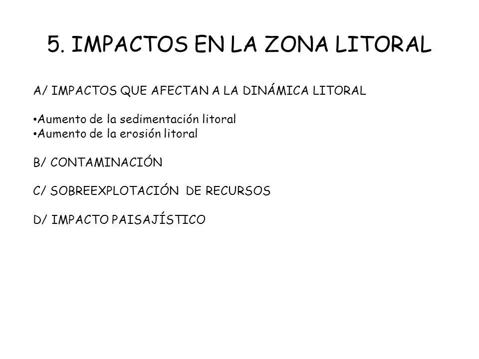 5. IMPACTOS EN LA ZONA LITORAL A/ IMPACTOS QUE AFECTAN A LA DINÁMICA LITORAL Aumento de la sedimentación litoral Aumento de la erosión litoral B/ CONT
