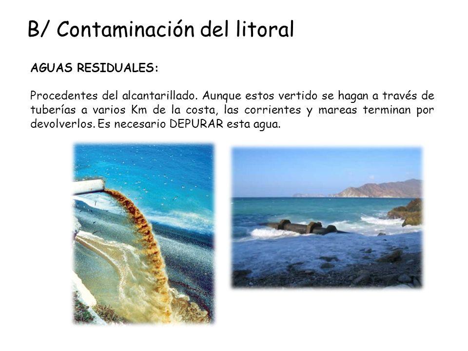 B/ Contaminación del litoral AGUAS RESIDUALES: Procedentes del alcantarillado. Aunque estos vertido se hagan a través de tuberías a varios Km de la co