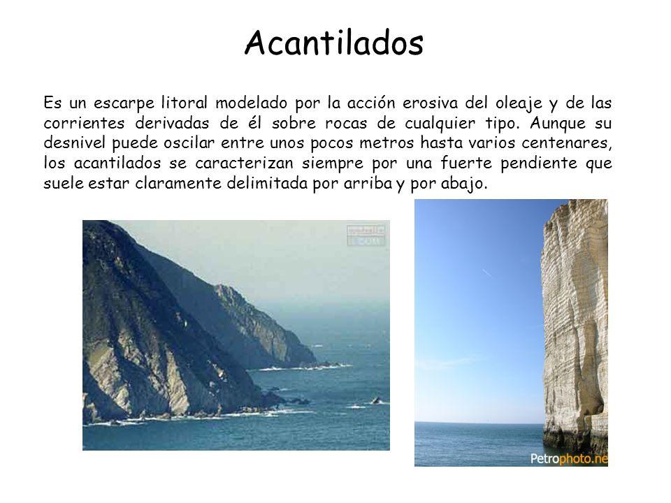 Acantilados Es un escarpe litoral modelado por la acción erosiva del oleaje y de las corrientes derivadas de él sobre rocas de cualquier tipo. Aunque