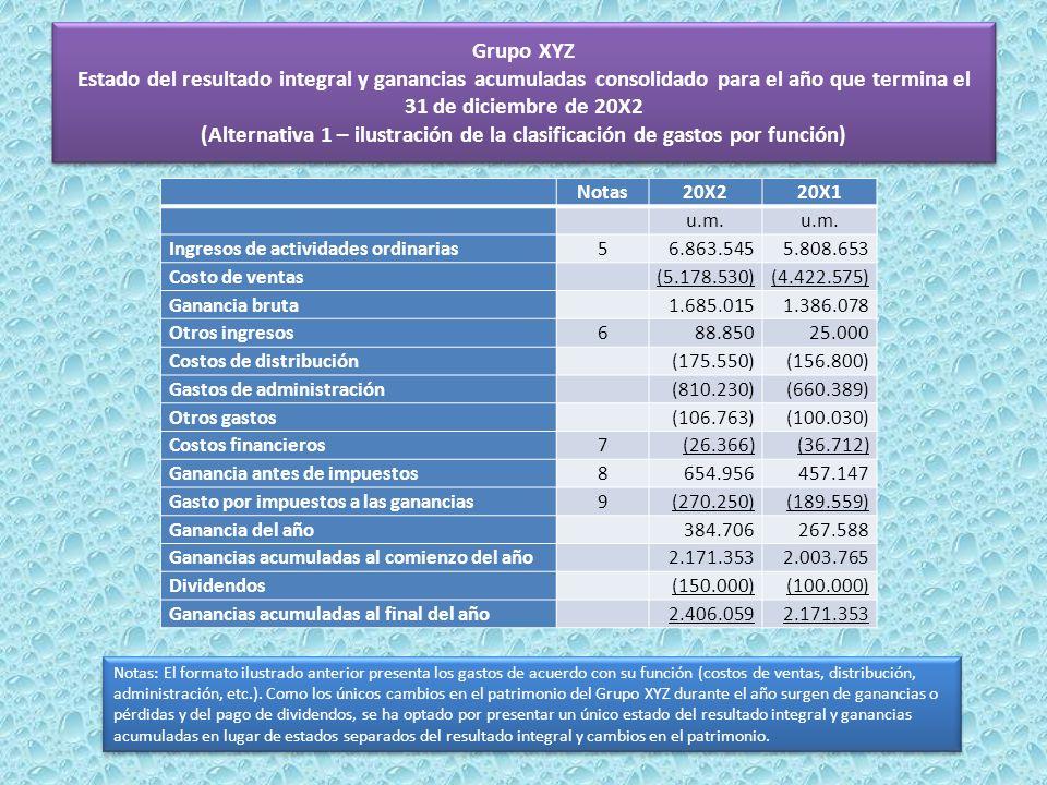 Grupo XYZ Estado del resultado integral y ganancias acumuladas consolidado para el año que termina el 31 de diciembre de 20X2 (Alternativa 1 – ilustra