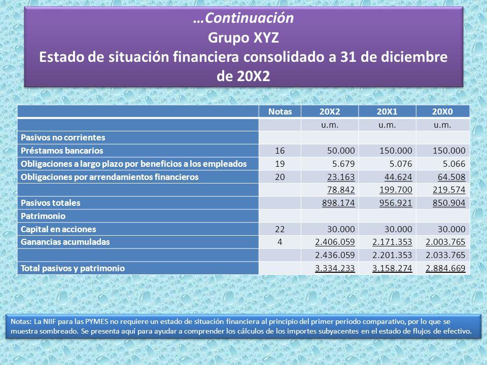 …Continuación Grupo XYZ Estado de situación financiera consolidado a 31 de diciembre de 20X2 Notas20X220X120X0 u.m. Pasivos no corrientes Préstamos ba