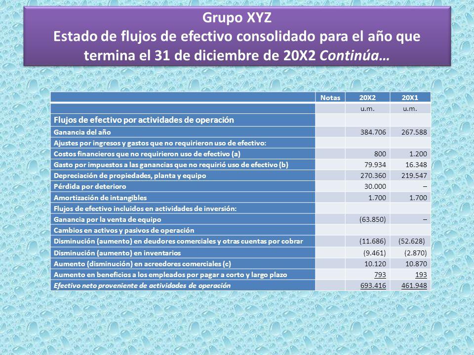 Grupo XYZ Estado de flujos de efectivo consolidado para el año que termina el 31 de diciembre de 20X2 Continúa… Notas20X220X1 u.m. Flujos de efectivo