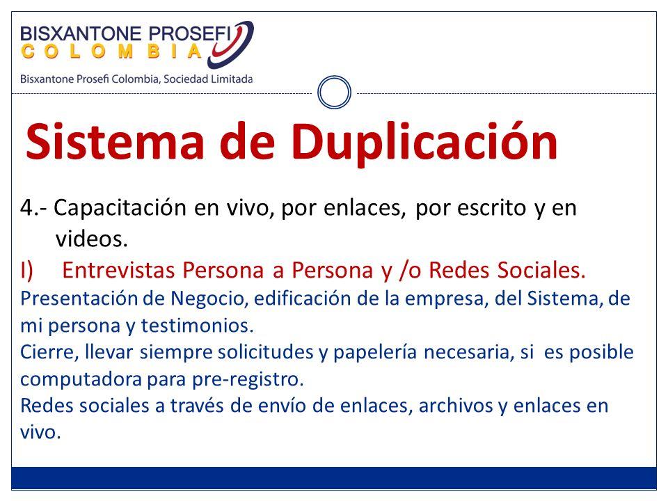 4.- Capacitación en vivo, por enlaces, por escrito y en videos. I)Entrevistas Persona a Persona y /o Redes Sociales. Presentación de Negocio, edificac