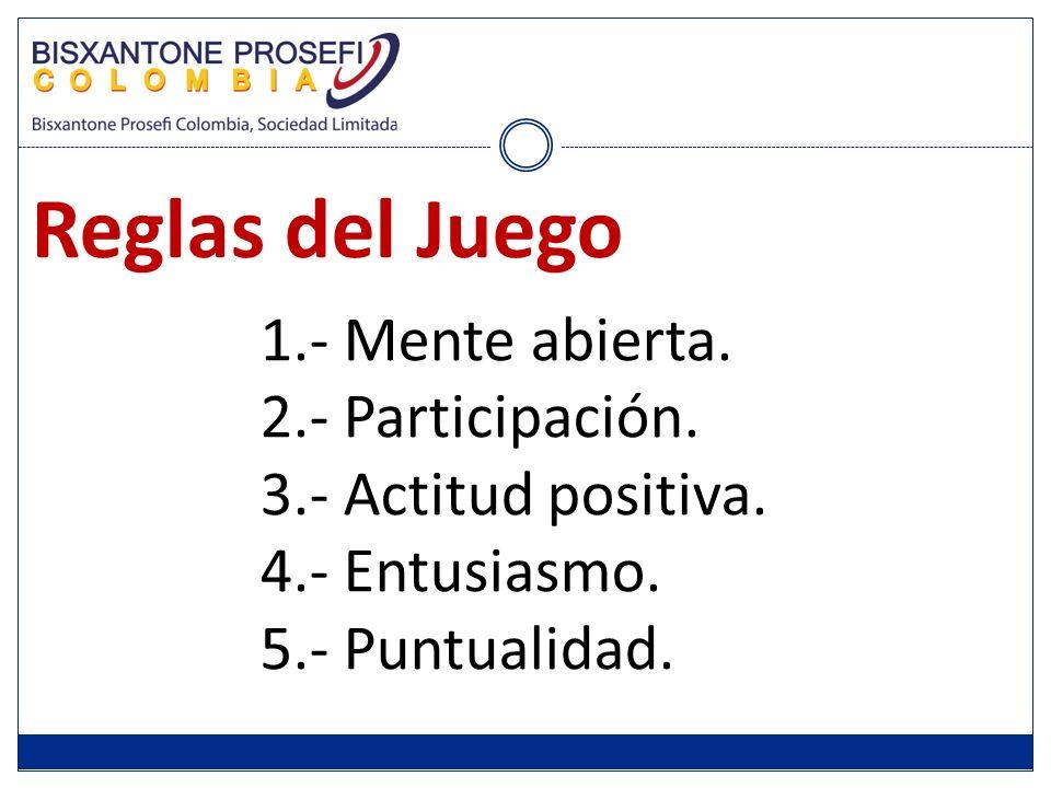 Reglas del Juego 1.- Mente abierta. 2.- Participación. 3.- Actitud positiva. 4.- Entusiasmo. 5.- Puntualidad.