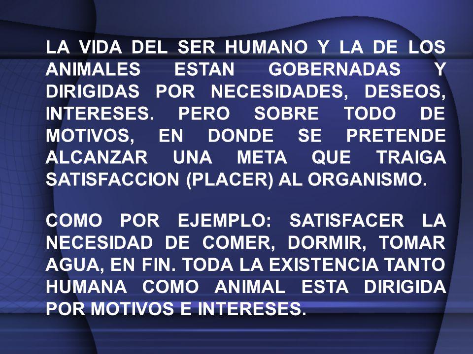 LA VIDA DEL SER HUMANO Y LA DE LOS ANIMALES ESTAN GOBERNADAS Y DIRIGIDAS POR NECESIDADES, DESEOS, INTERESES.