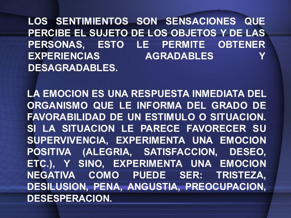 LOS SENTIMIENTOS SON SENSACIONES QUE PERCIBE EL SUJETO DE LOS OBJETOS Y DE LAS PERSONAS, ESTO LE PERMITE OBTENER EXPERIENCIAS AGRADABLES Y DESAGRADABLES.