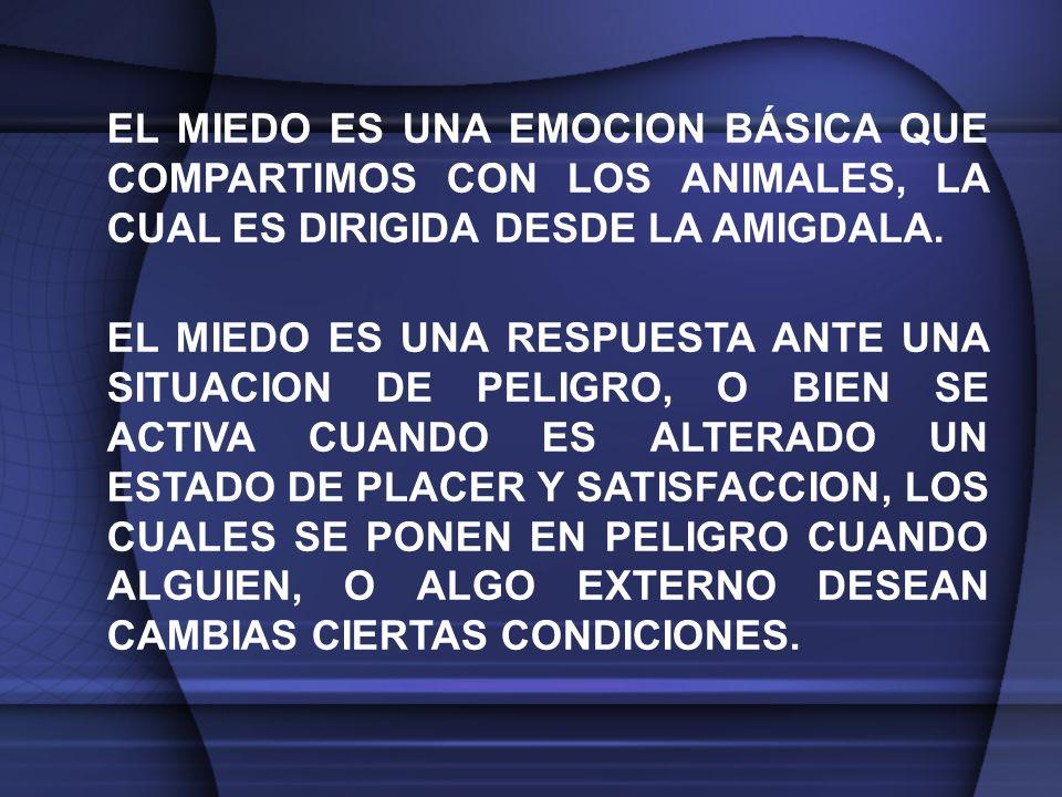 EL MIEDO ES UNA EMOCION BÁSICA QUE COMPARTIMOS CON LOS ANIMALES, LA CUAL ES DIRIGIDA DESDE LA AMIGDALA.