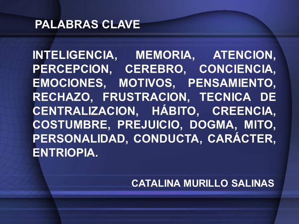 INTELIGENCIA, MEMORIA, ATENCION, PERCEPCION, CEREBRO, CONCIENCIA, EMOCIONES, MOTIVOS, PENSAMIENTO, RECHAZO, FRUSTRACION, TECNICA DE CENTRALIZACION, HÁBITO, CREENCIA, COSTUMBRE, PREJUICIO, DOGMA, MITO, PERSONALIDAD, CONDUCTA, CARÁCTER, ENTRIOPIA.