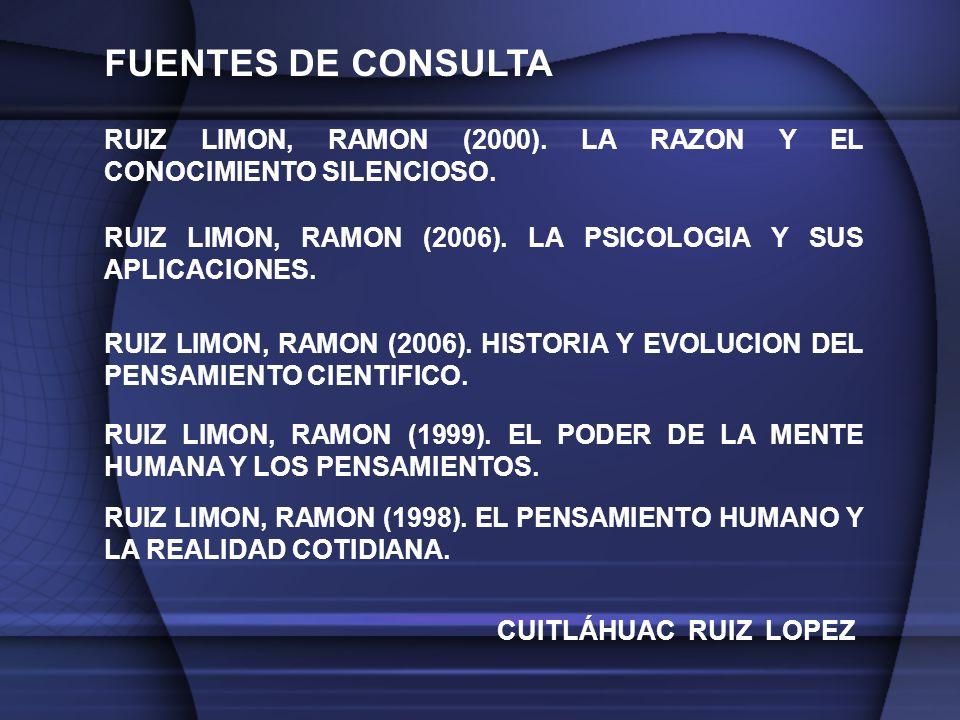 FUENTES DE CONSULTA RUIZ LIMON, RAMON (2000).LA RAZON Y EL CONOCIMIENTO SILENCIOSO.