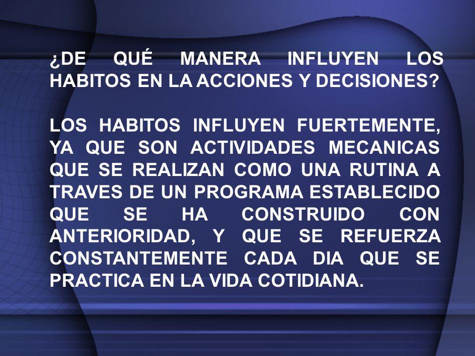 ¿DE QUÉ MANERA INFLUYEN LOS HABITOS EN LA ACCIONES Y DECISIONES.