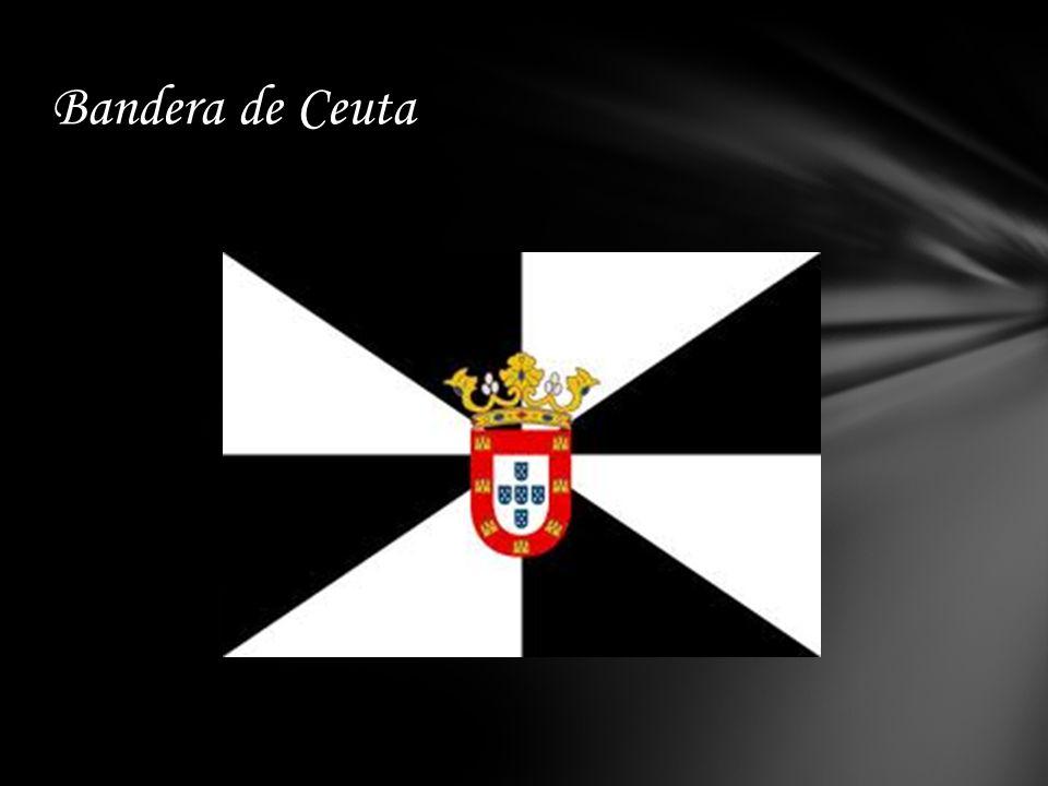 La bandera de Ceuta está jironada de blanco y negro. Es conocida como la bandera de San Vicente o de Lisboa. Realmente es una de las enseñas más antig