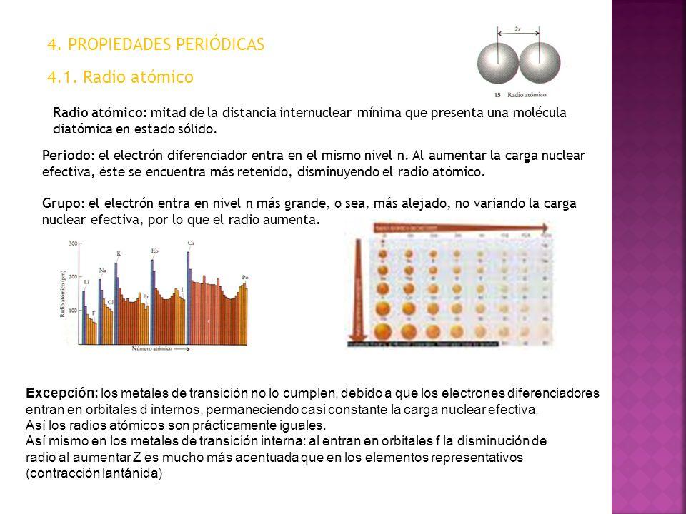 4. PROPIEDADES PERIÓDICAS 4.1. Radio atómico Radio atómico: mitad de la distancia internuclear mínima que presenta una molécula diatómica en estado só