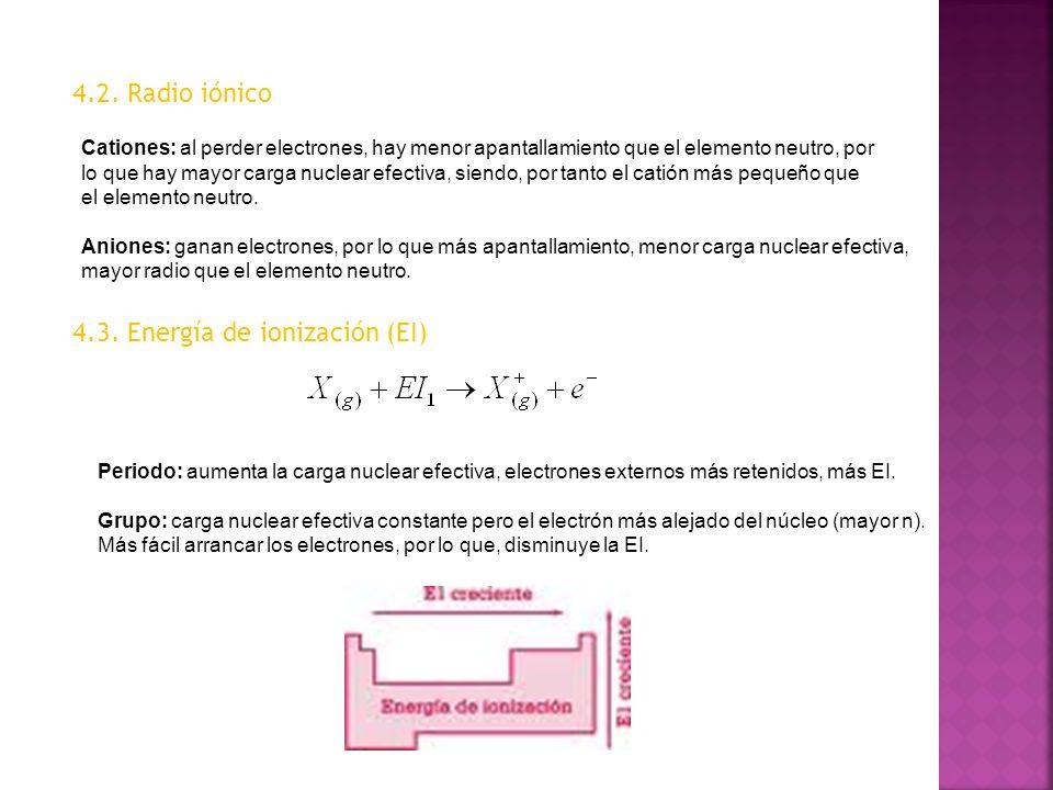 4.2. Radio iónico Cationes: al perder electrones, hay menor apantallamiento que el elemento neutro, por lo que hay mayor carga nuclear efectiva, siend