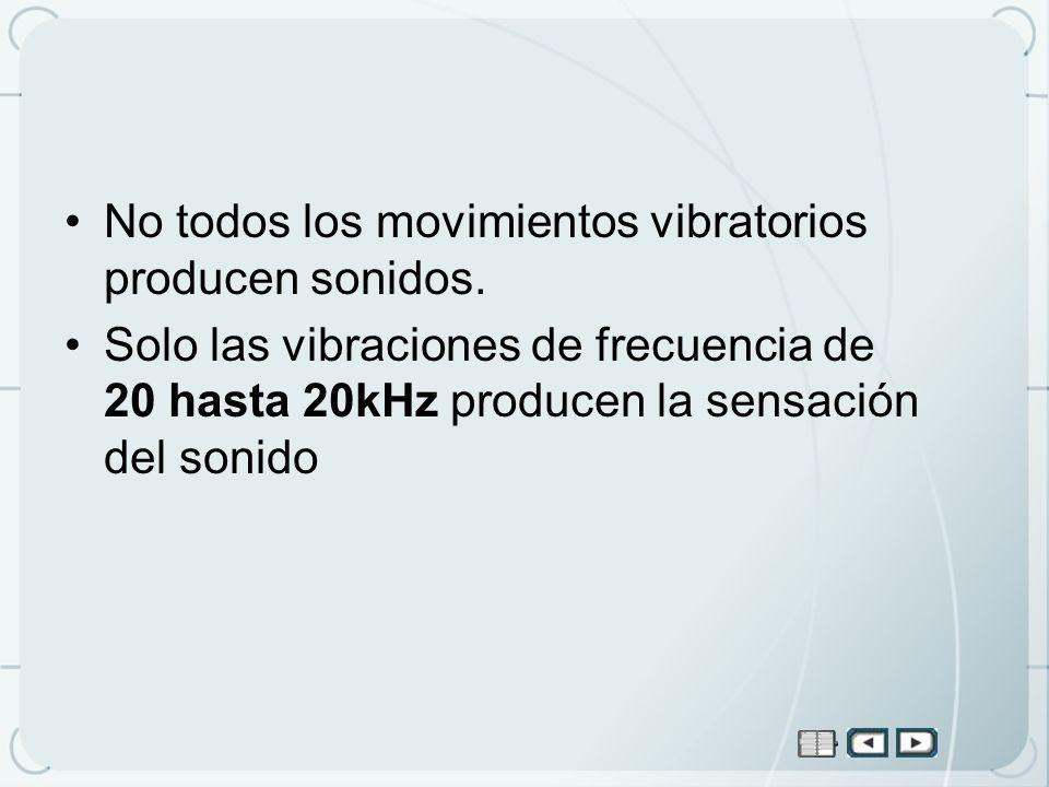 No todos los movimientos vibratorios producen sonidos. Solo las vibraciones de frecuencia de 20 hasta 20kHz producen la sensación del sonido