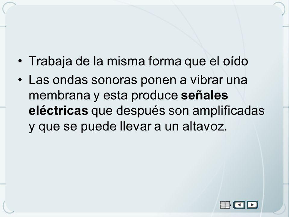 Trabaja de la misma forma que el oído Las ondas sonoras ponen a vibrar una membrana y esta produce señales eléctricas que después son amplificadas y q