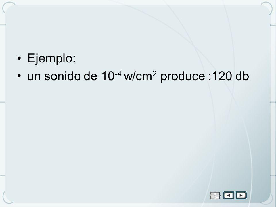 Ejemplo: un sonido de 10 -4 w/cm 2 produce :120 db