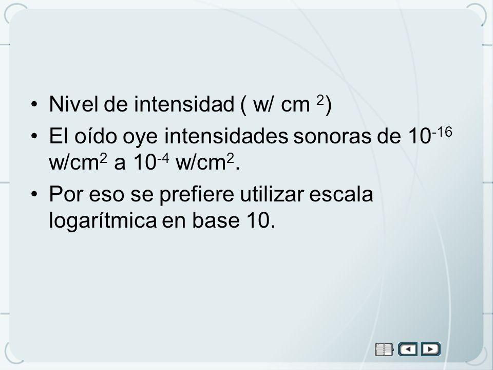 Nivel de intensidad ( w/ cm 2 ) El oído oye intensidades sonoras de 10 -16 w/cm 2 a 10 -4 w/cm 2. Por eso se prefiere utilizar escala logarítmica en b