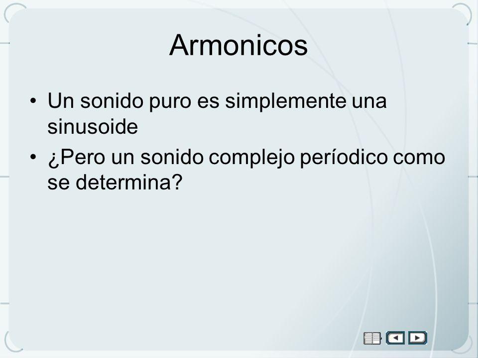 Armonicos Un sonido puro es simplemente una sinusoide ¿Pero un sonido complejo períodico como se determina?