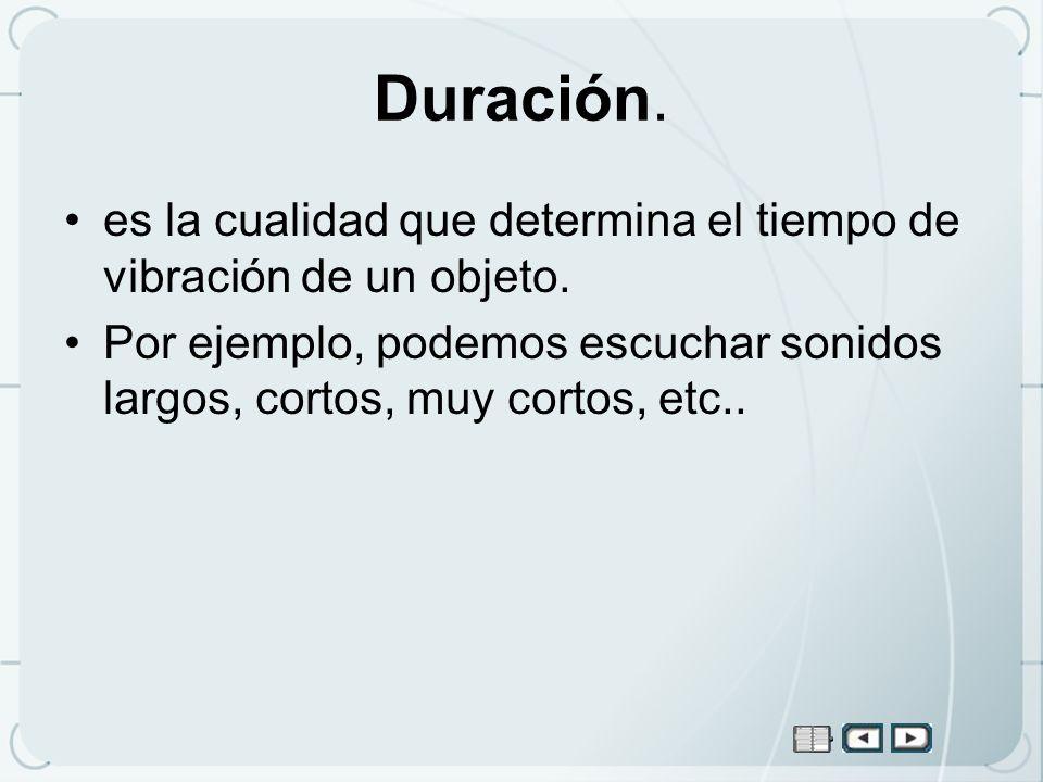 Duración. es la cualidad que determina el tiempo de vibración de un objeto. Por ejemplo, podemos escuchar sonidos largos, cortos, muy cortos, etc..