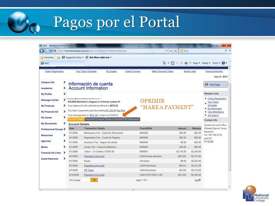 Pagos por el Portal OPRIMIR MAKE A PAYMENT