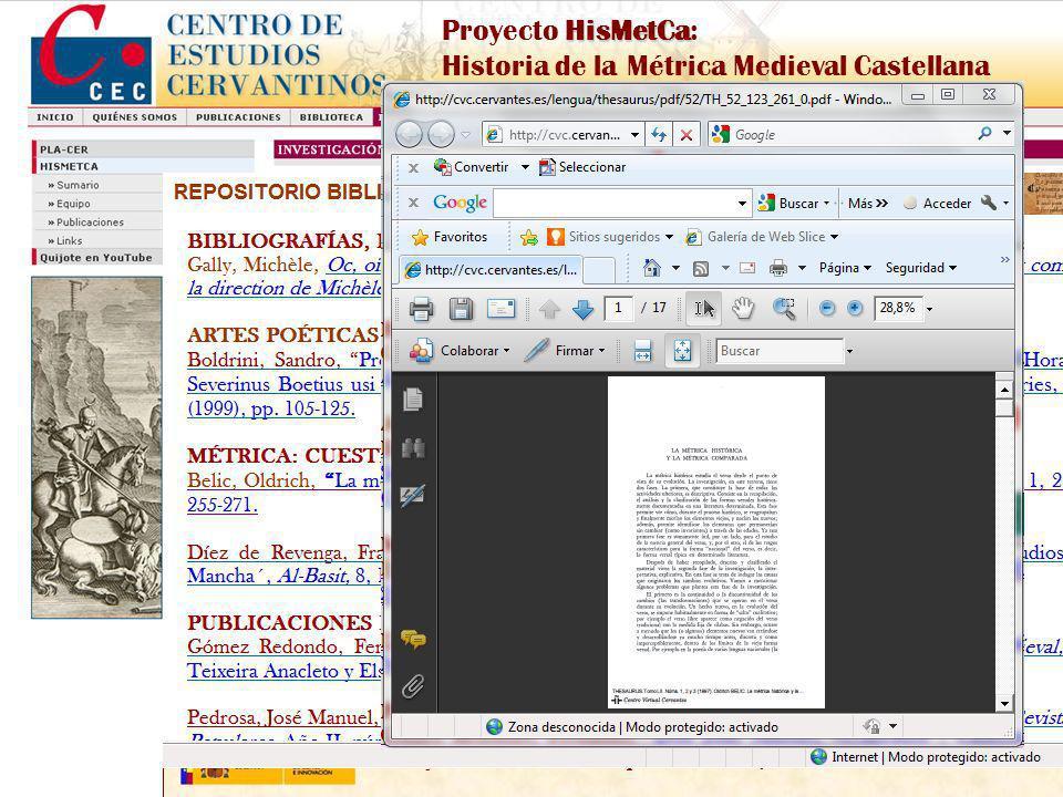 Proyecto de I+D financiado por el MICINN, Ref. FFI2009-09300 HisMetCa Proyecto HisMetCa: Historia de la Métrica Medieval Castellana