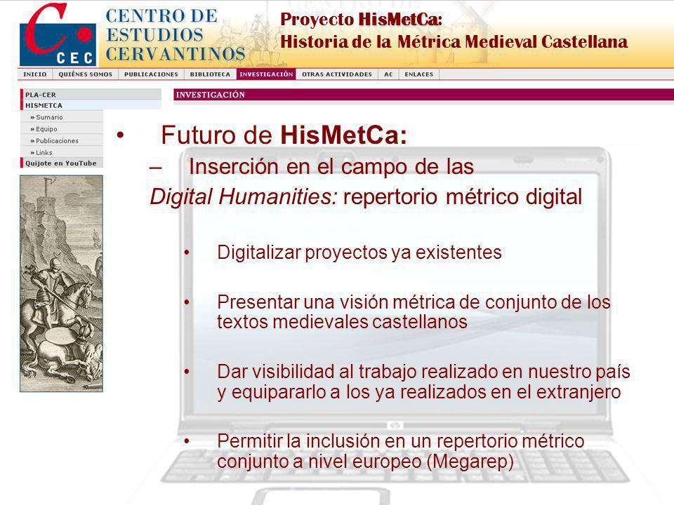 Proyecto de I+D financiado por el MICINN, Ref. FFI2009-09300 HisMetCa Proyecto HisMetCa: Historia de la Métrica Medieval Castellana Futuro de HisMetCa