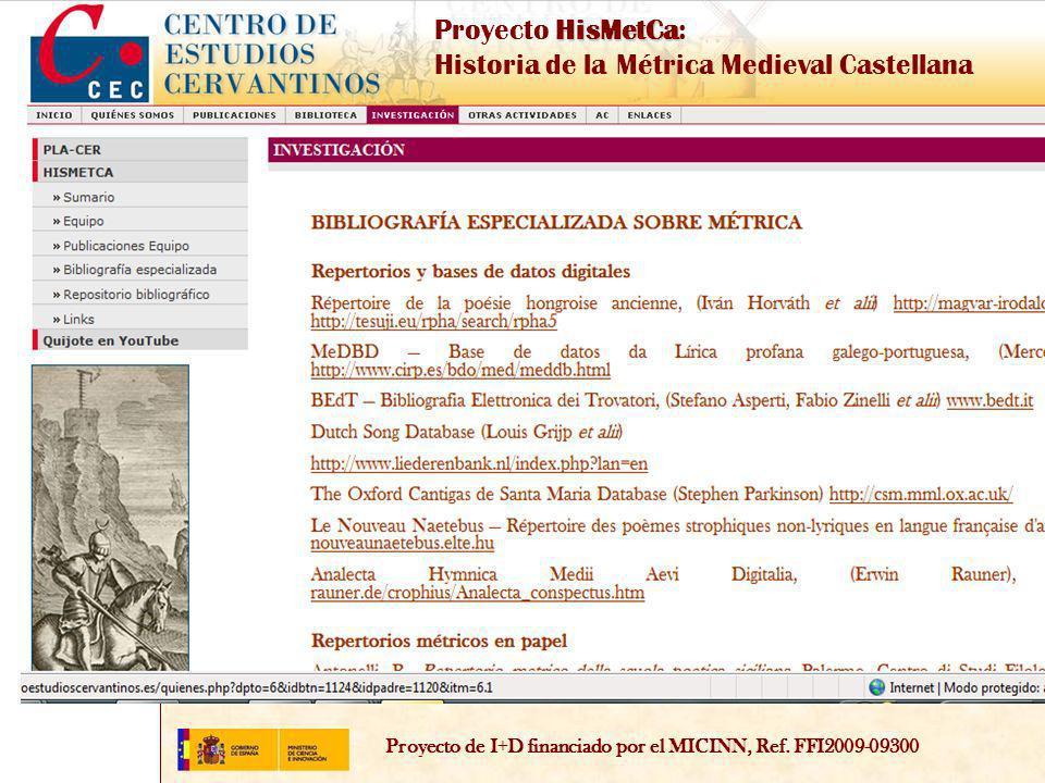 Proyecto de I+D financiado por el MICINN, Ref.