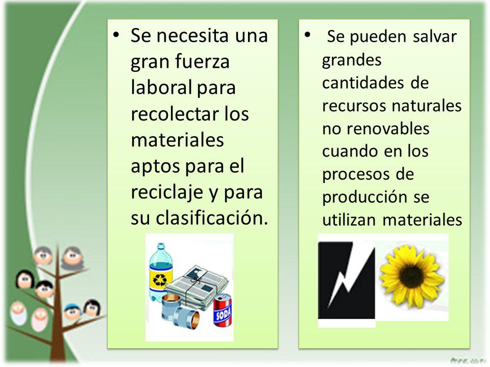 Se necesita una gran fuerza laboral para recolectar los materiales aptos para el reciclaje y para su clasificación. Se pueden salvar grandes cantidade