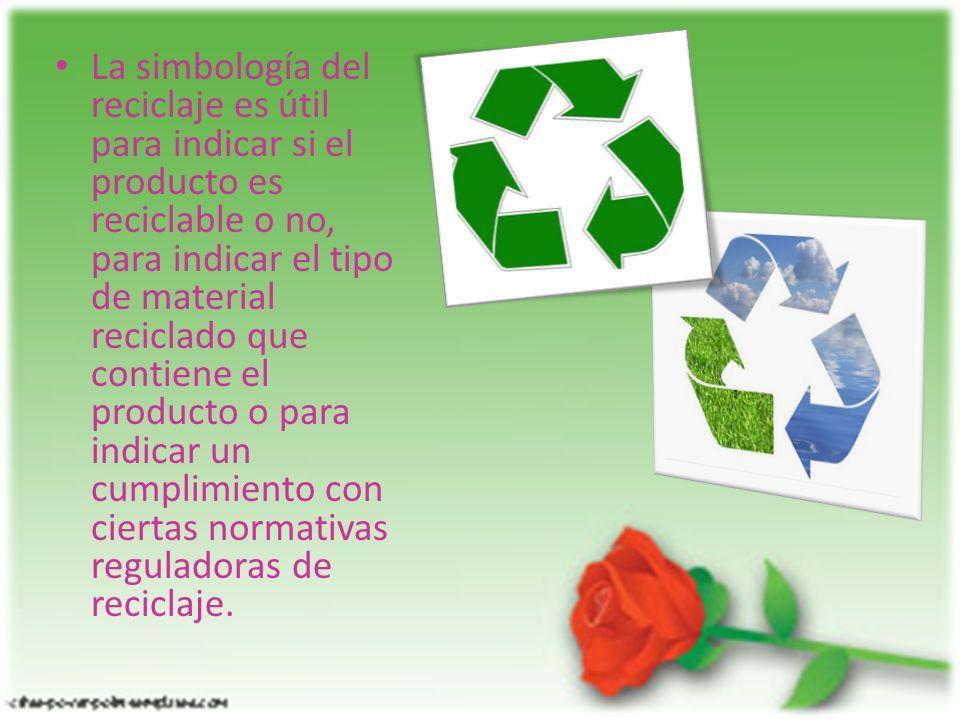 La simbología del reciclaje es útil para indicar si el producto es reciclable o no, para indicar el tipo de material reciclado que contiene el product
