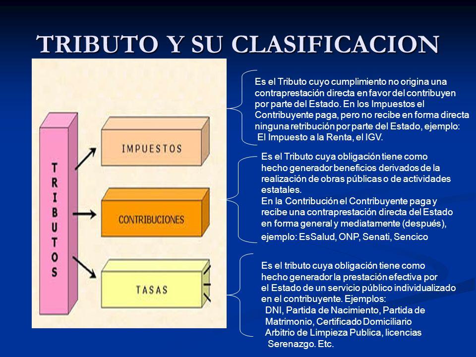 TRIBUTO Y SU CLASIFICACION Es el Tributo cuyo cumplimiento no origina una contraprestación directa en favor del contribuyen por parte del Estado. En l