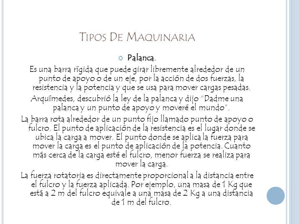 T IPOS D E M AQUINARIA Palanca.
