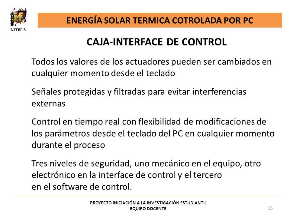 ENERGÍA SOLAR TERMICA COTROLADA POR PC PROYECTO INICIACIÓN A LA INVESTIGACIÓN ESTUDIANTIL EQUIPO DOCENTE 13 Todos los valores de los actuadores pueden
